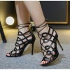 Women's Black Heels Hollow-out Strappy Sandals Open Toe Stiletto Heels thumb 2
