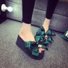 Green Satin Bow Wedge Flip Flops Cute Platform Sandals thumb 2