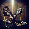 Black and Gold Wedding Heels Embroidered Rhinestone Pumps  thumb 2