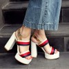 Women's Red and Golden Platform Block Heel Sandals thumb 3