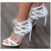 White Lace up Sandals Open Toe Stiletto Heel Strappy Sandals thumb 2