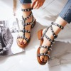 Women's Black Silver Studs T-Strap Flats Gladiator Sandals thumb 3