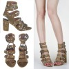 Olive Green Studs Shoes Block Heel Sandals with Buckles thumb 2