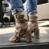 Olive Green Studs Shoes Block Heel Sandals with Buckles thumb 3
