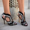Black and White Heels Peep Toe Cutout Sandals Stiletto Heels  thumb 2