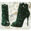 Green Suede Laser Cut Peep Toe Sexy Stiletto Heel Sandals thumb 2
