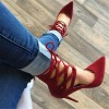 Red Strappy Heels Pointy Toe Lace up Suede Pumps Stiletto Heels thumb 6