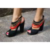 Black Slingback Heels Peep Toe Block Heel Sandals with String of Beads thumb 2