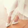Women's White Pointed Toe Jeweled Ribbon Stiletto Heel Pumps Bridal Shoes thumb 4