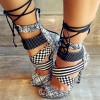 Black and White Lace up Sandals Peep Toe Stiletto Heels for Women thumb 3