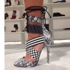 Black and White Lace up Sandals Peep Toe Stiletto Heels for Women thumb 2