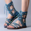 Women's Blue Denim Lace Up Open Toe Strappy Sandals thumb 2