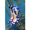 Blue And White Slingback Pumps Pointed Toe Stiletto Heels With Bows thumb 2