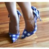 Blue And White Slingback Pumps Pointed Toe Stiletto Heels With Bows thumb 5