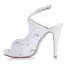 Women's White Platform Rhinestone Cross Over Slingback Stiletto Bridal Heels Pumps  thumb 4