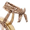 Leopard Print Heels Lace up Sandals Platform Stiletto Heels for Women thumb 4