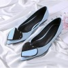 Women's Blue Pointed Toe Comfortable Flats with Heart Shape Pattern thumb 4
