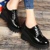 Women's Black Patent Leather Wedge Heel Women's Brogues Vintage Shoes thumb 3