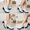 White Block Heel Round Toe Wingtip Shoes Lace up Heeled Oxfords thumb 2