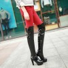 Women's Black Patent Leather Over-The-Knee Sexy Stripper Heels Boots thumb 4