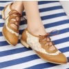 Brown Lace Women's Oxfords Vintage Shoes Lace-up Comfortable Flats thumb 3
