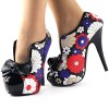 Floral Bow Stiletto Heels Platform Ankle Booties Vintage Shoes thumb 3