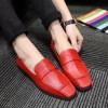 Women's Coral Red Square Toe Comfortable Flats Patent Leather Shoes thumb 3