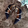 Navy Kitten Heels Ankle Strap Pointy Toe Pumps for Women thumb 5