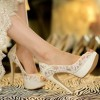 White Bridal Shoes Platform Peep Toe Pumps Lace Heels for Wedding thumb 2