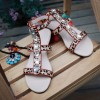 Women's Rhinestone Embellished Leopard Print Shoes T-strap Flat Sandals thumb 5