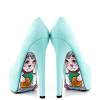 Cyan Floral Print Stiletto Heels Almond Toe Pumps Platform Shoes For Women thumb 2