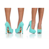 Cyan Floral Print Stiletto Heels Almond Toe Pumps Platform Shoes For Women thumb 3
