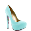 Cyan Floral Print Stiletto Heels Almond Toe Pumps Platform Shoes For Women thumb 4