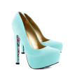 Cyan Floral Print Stiletto Heels Almond Toe Pumps Platform Shoes For Women thumb 5