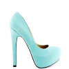 Cyan Floral Print Stiletto Heels Almond Toe Pumps Platform Shoes For Women thumb 6