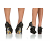 Black Fashion Boots Skull Sole Stiletto Heels Ankle Booties US Size 3-15  thumb 4