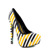 Women's Yellow And Black Floral Print Platform Heels Almond Toe Stiletto Heels thumb 3