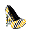 Women's Yellow And Black Floral Print Platform Heels Almond Toe Stiletto Heels thumb 5