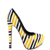 Women's Yellow And Black Floral Print Platform Heels Almond Toe Stiletto Heels thumb 4