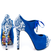 Royal Blue Lace up Boots Matryoshka Doll Print Ankle Booties thumb 2