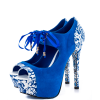 Royal Blue Lace up Boots Matryoshka Doll Print Ankle Booties thumb 4