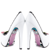 Women's White Rivets Floral Print Stiletto Heels Pumps Platform Heels thumb 6