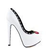 Women's White Rivets Floral Print Stiletto Heels Pumps Platform Heels thumb 10