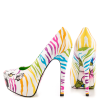 White Tiger-print Stiletto Heels Almond Toe Platform Shoes For Women thumb 3