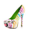White Tiger-print Stiletto Heels Almond Toe Platform Shoes For Women thumb 5