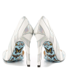 Silver And White Floral Stiletto Heels Pointy Toe Pumps For Women thumb 2