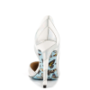 Silver And White Floral Stiletto Heels Pointy Toe Pumps For Women thumb 3