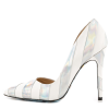 Silver And White Floral Stiletto Heels Pointy Toe Pumps For Women thumb 4