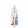Women's White Floral Print Stiletto Heels Almond Toe Platform Shoes thumb 2
