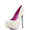 Women's White Floral Print Stiletto Heels Almond Toe Platform Shoes thumb 3